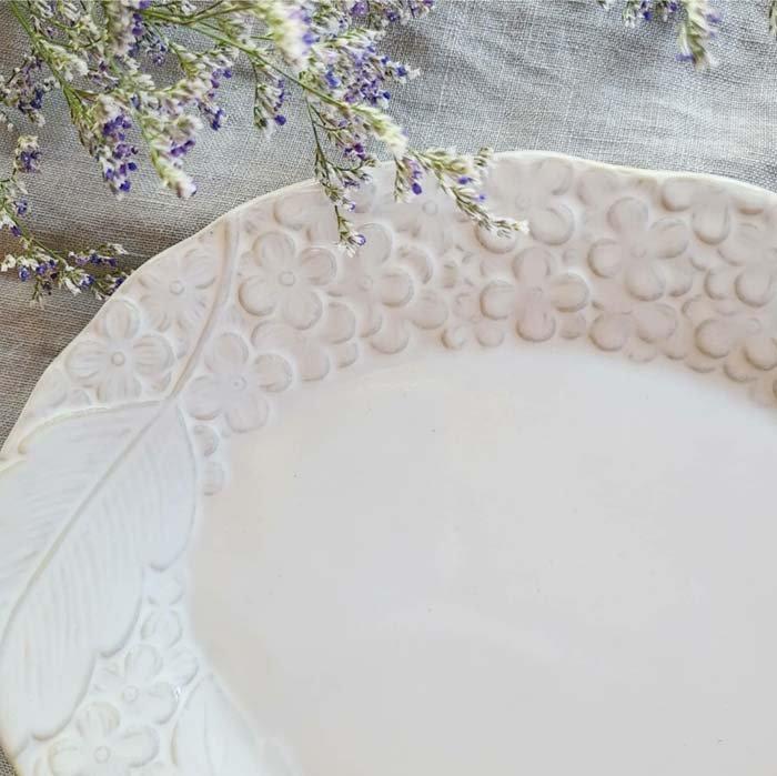 紫陽花・花柄・オーバル・(L)ディナープレート・ホワイト・美濃焼 サブイメージ