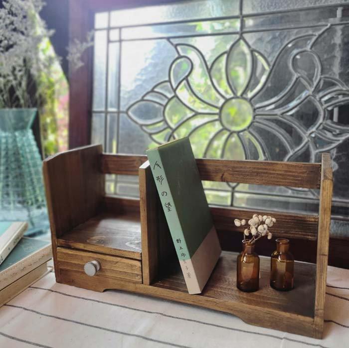 木製本立て・ブックスタンド・引き出しつき本棚 メインイメージ