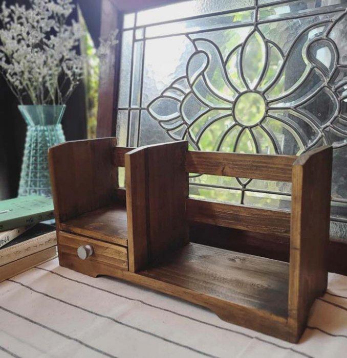 木製本立て・ブックスタンド・引き出しつき本棚 サブイメージ