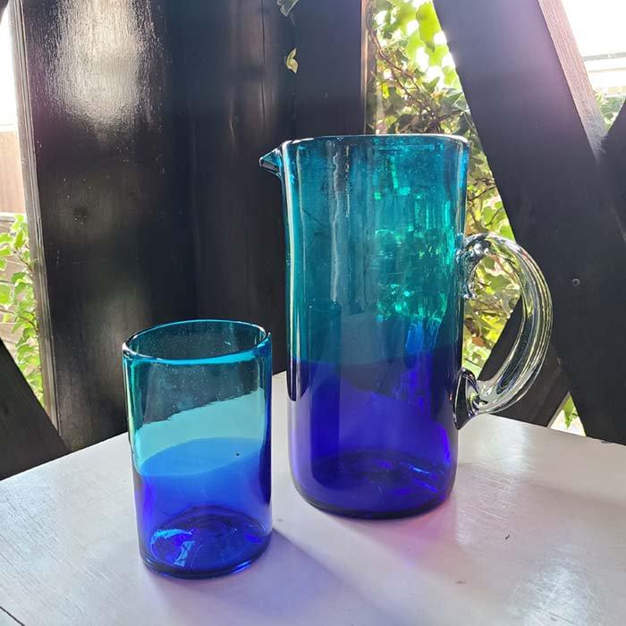 メキシコ手吹きガラス・ピッチャー・グラデーションガラス・フラワーベース サブイメージ