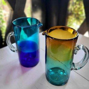 メキシコ手吹きガラス・ピッチャー・グラデーションガラス・フラワーベース
