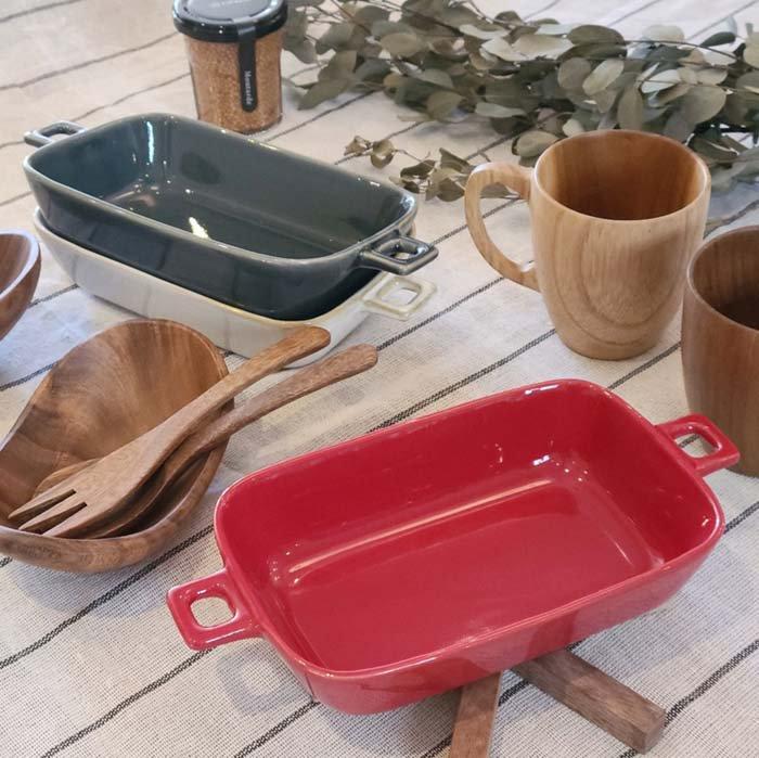 長方形レクタングル・グラタン皿・おうちカフェ・オープン使用可能 サブイメージ