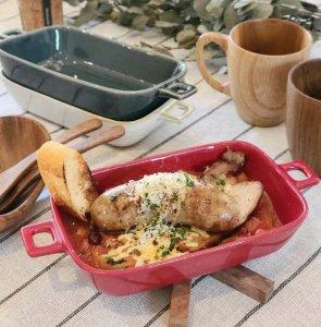 長方形レクタングル・グラタン皿・おうちカフェ・オープン使用可能