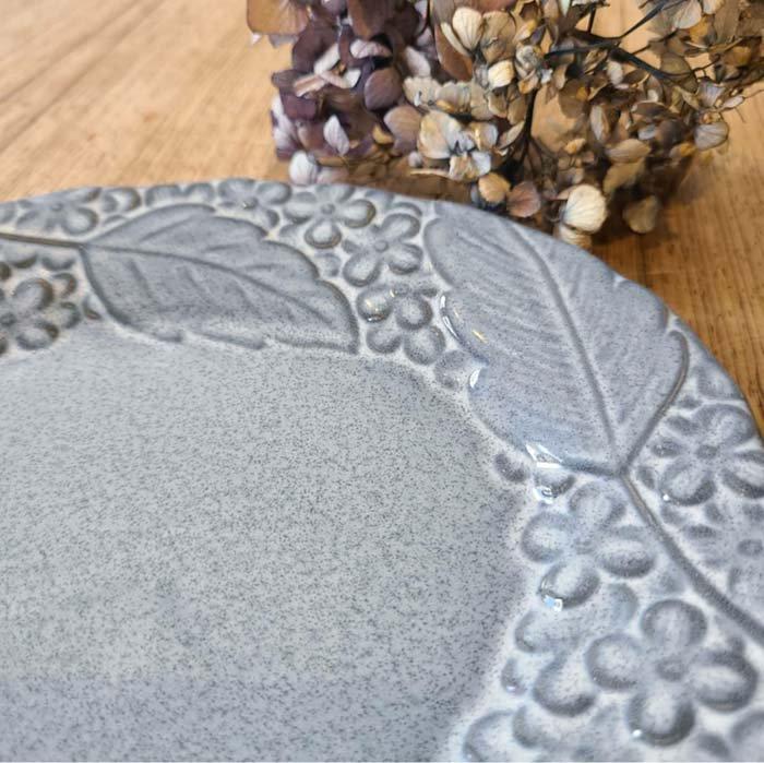 紫陽花・花柄・オーバル・(L)ディナープレート・アンティークグレー・美濃焼 サブイメージ