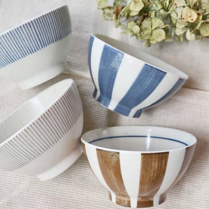 美濃焼・ごはん茶碗・サーカス太ストライプ・細ライン・ブルー・ブラウン メインイメージ