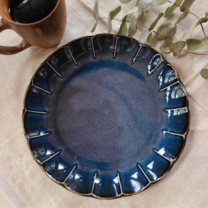 vintageフラワーシリーズ・花皿・藍色・ブルー・ディナープレート・ワンプレート メインイメージ