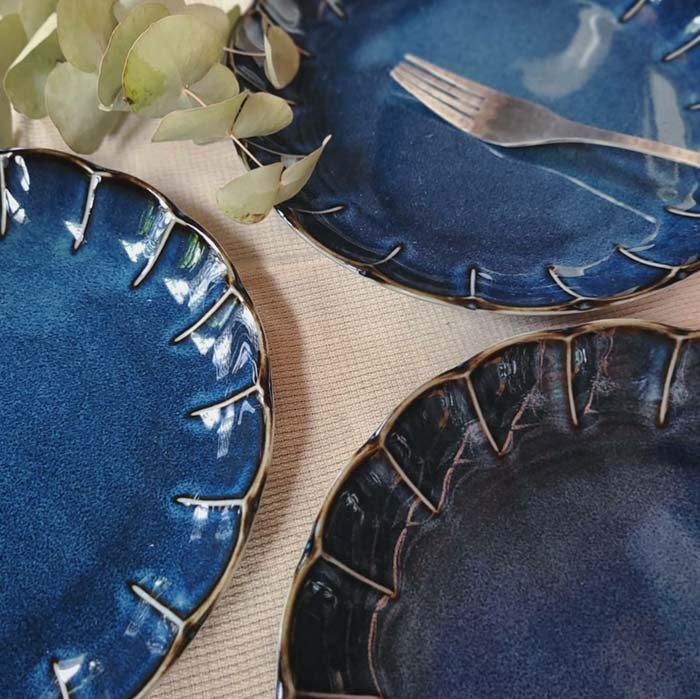 vintageフラワーシリーズ・花皿・藍色・ブルー・ディナープレート・ワンプレート サブイメージ