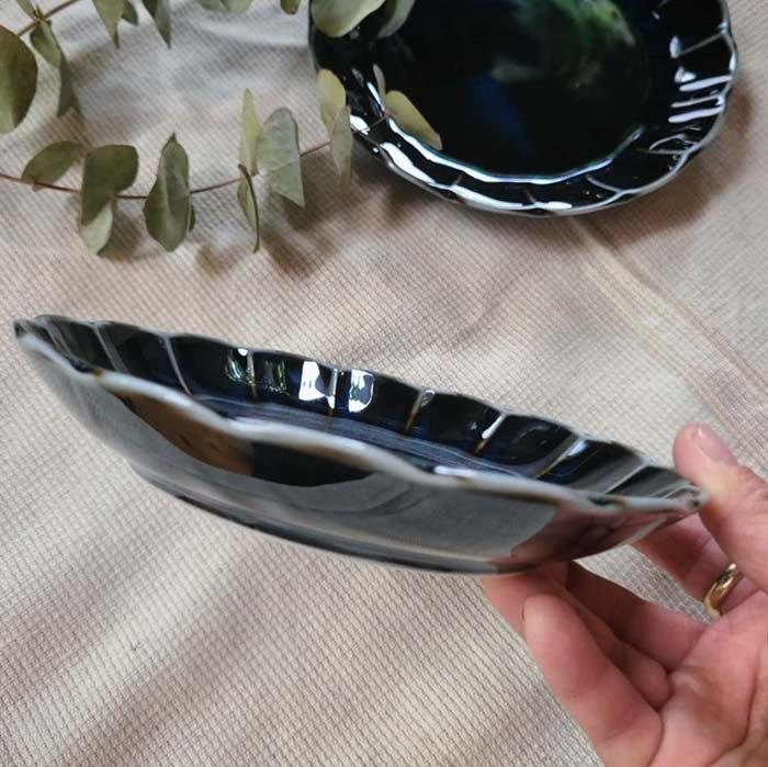 vintageフラワーシリーズ・花皿・藍色・ブルー・デザートプレート・パン皿・取り分け皿 サブイメージ