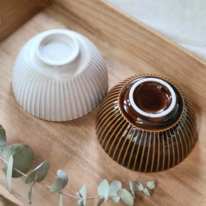 ご飯茶碗、菊型、ボウル、ホワイト、飴色ブラウン サブイメージ