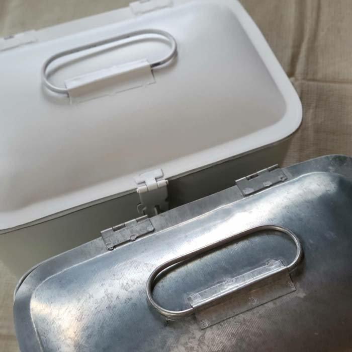 収納ケース・マスクケース・ふたつき・持ち手つき・(M)・シルバー・ホワイト サブイメージ