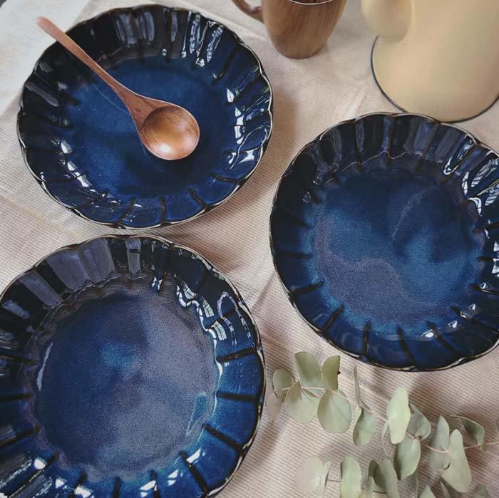 vintageフラワーシリーズ・花皿・藍色・カレー皿・パスタ皿・深皿・プレート メインイメージ