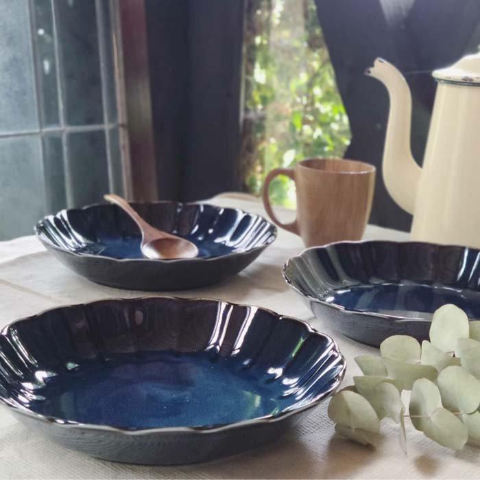 vintageフラワーシリーズ・花皿・藍色・カレー皿・パスタ皿・深皿・プレート サブイメージ