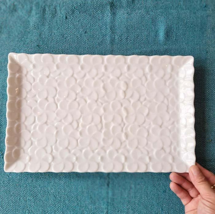 プルメリア・花・長方形スクエアプレート・28.4cm・美濃焼・白磁 サブイメージ