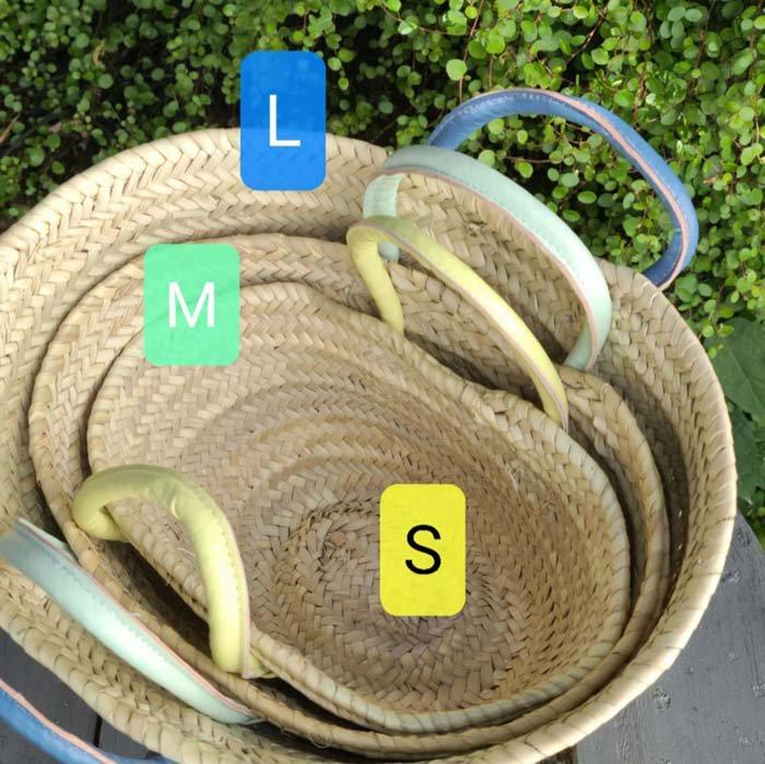 モロッコ・マルシェバッグ・かごバッグ Lサイズ・ナチュラル・羊革ハンドル サブイメージ