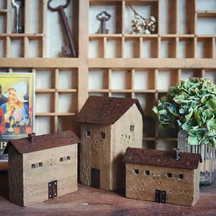 3個セット・ミニチュア木製ハウス・WOOD HOUSE・家・木・鉄 メインイメージ