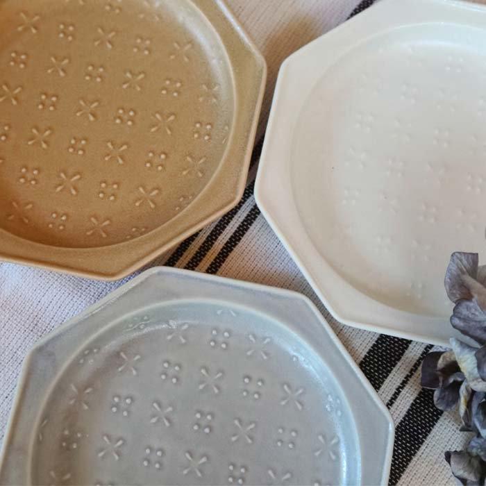 八角形・小花プレート・デザートプレート・ミルクティー・ホワイト・レトログレー サブイメージ