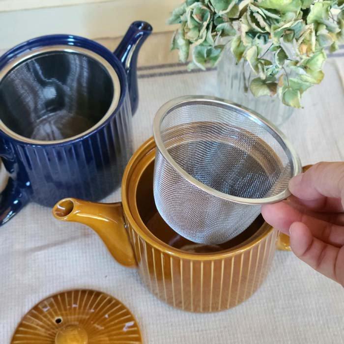 茶漉し付きティーポット・スタイリッシュポット・飴色キャメル・藍色ブルー サブイメージ