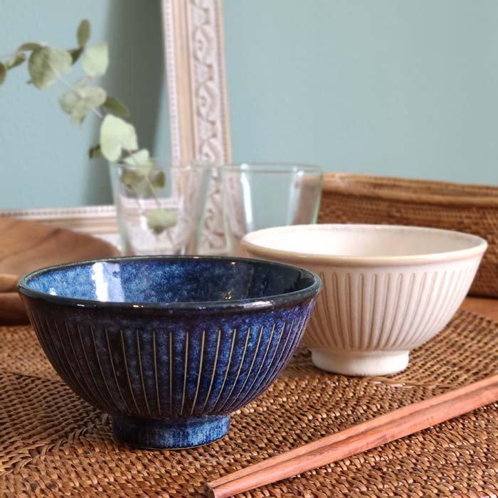 撥水加工ラインシリーズ・ご飯茶碗・めし碗・器・ホワイト・藍 メインイメージ
