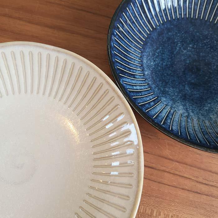 撥水加工ラインシリーズ・深皿・カレーパスタ皿・器・ホワイト・藍 サブイメージ