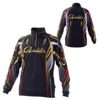 がまかつ 2WAYプリントジップシャツ GM-3650(長袖)ブラック/レッド Lサイズ  (予約商品/2月発売予定)