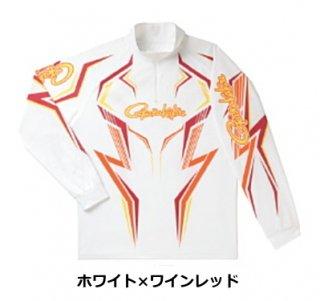 がまかつ 2WAYプリントジップシャツ(長袖) GM-3540 ホワイト×ワインレッド Lサイズ / ウエア (お取り寄せ) (送料無料)