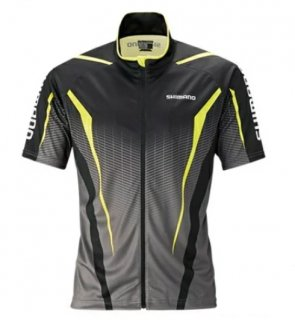 シマノ フルジッププリントシャツ (半袖) SH-052S ブラック/ライム XL(LL)サイズ / ウェア (S01) (O01)