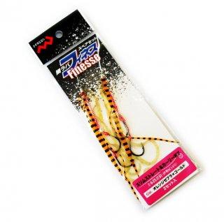 マルシン漁具 鯛ラバスペアセット フィネス スリムストレート&カーリーボブ オレンジゼブラ×ゴールド (メール便可)