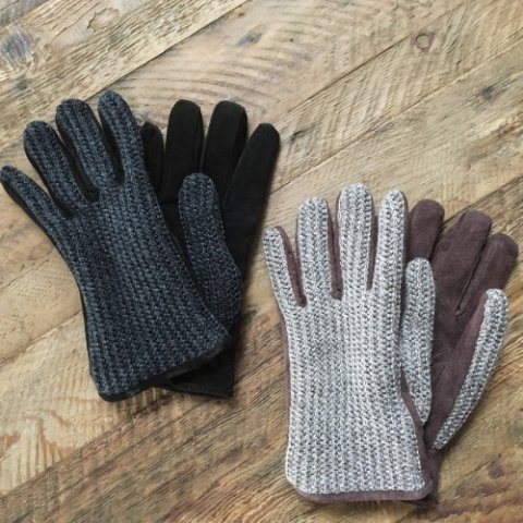 "Anachronorm x ISLAND KNIT WORKS ""Suede Knit Mix Glove"""
