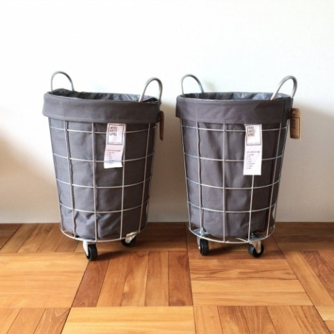"""WIRE ARTS & PRO. """"LAUNDRY ROUND BASKET WITH CASTER 33L"""""""