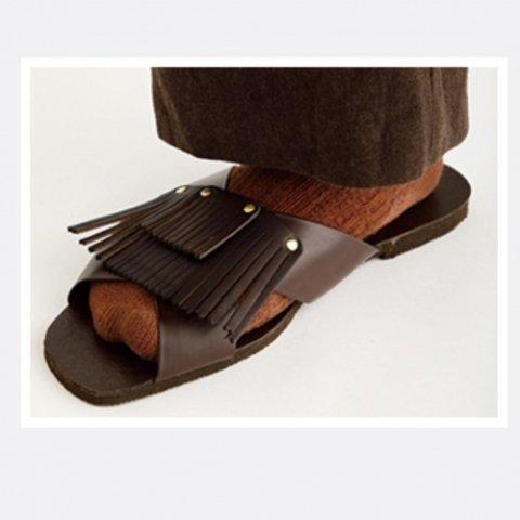 "BrownBrown ""Tassel Czech Army Sandal"""