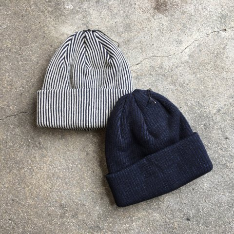 "RoToTo ""Striped Indigo Cotton Beanie"""