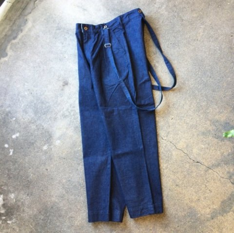 "H.UNIT STORE LABEL ""Denim Tuck Wide Trousers"""