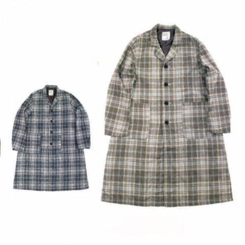 """H.UNIT STORE LABEL """"Flannel Check Long Atelier Coat"""""""