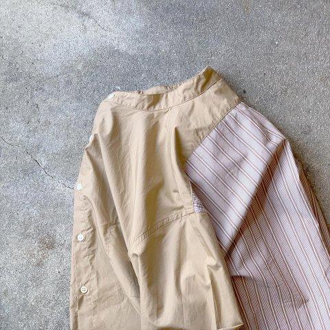 """H.UNIT  """"Typewriter switching bandcollar long sleeves shirt"""""""