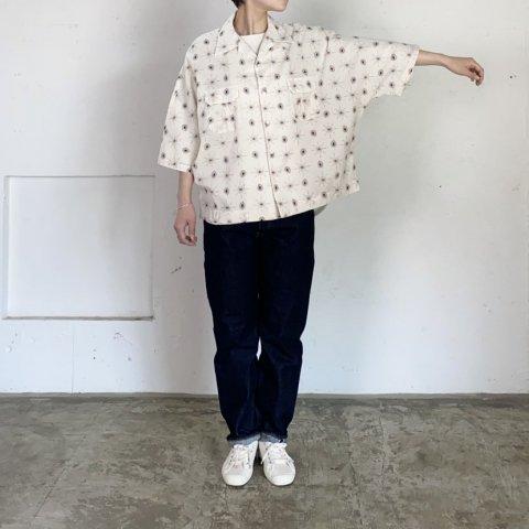 "H.UNIT  "" Paisley print dolman opencollar short sleeves shirt"""