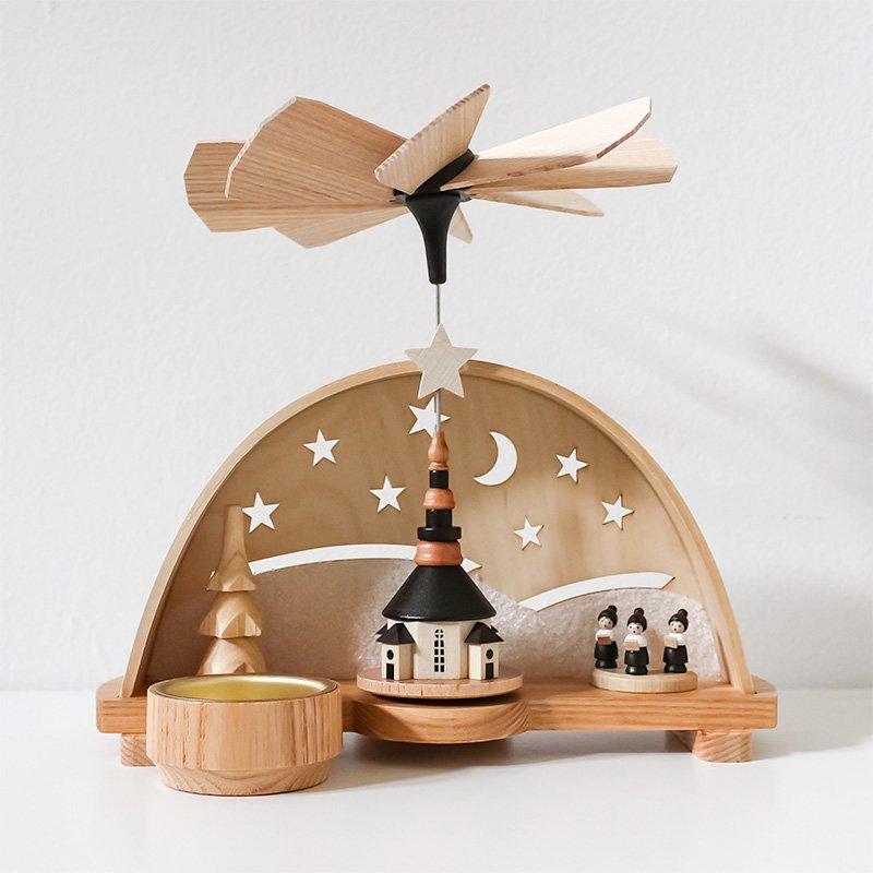 Spielwarenmacher Guenther ドーム型クリスマスピラミッド 聖歌隊と教会