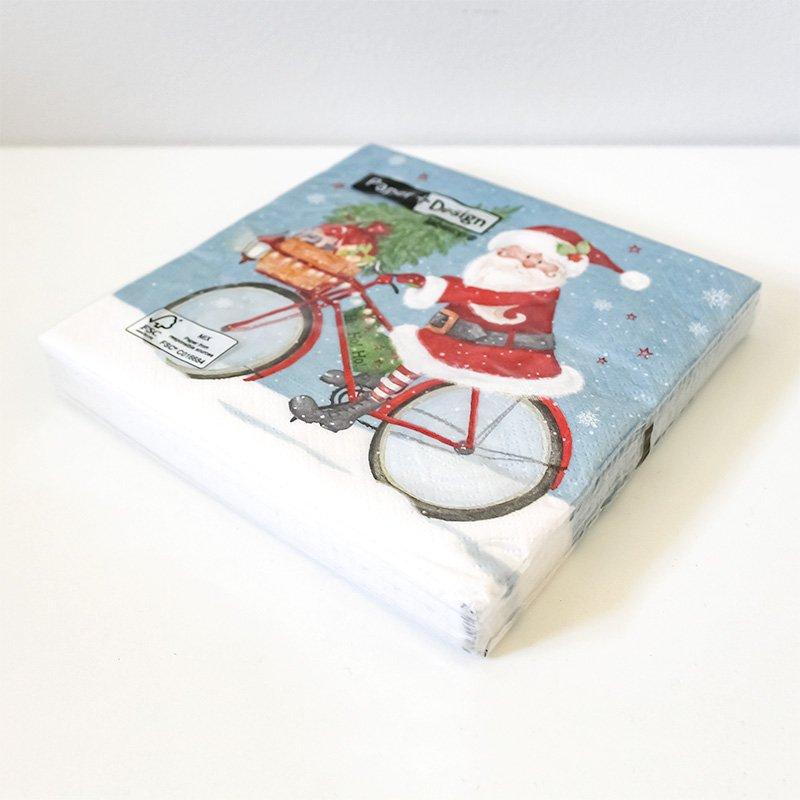 Paper + Design ペーパーナプキン 20P 自転車に乗るサンタクロース