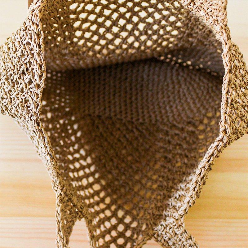 松野屋×東北クロッシェ 笹編み手提 小