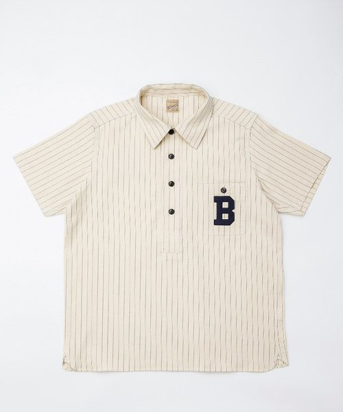 <img class='new_mark_img1' src='https://img.shop-pro.jp/img/new/icons20.gif' style='border:none;display:inline;margin:0px;padding:0px;width:auto;' />RAGTIME STRIPE BASEBALL PULLOVER S/S SHIRTS