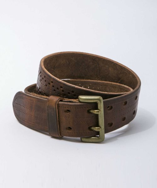 RAGTIME  PUNCHING LEATHER BELT HALF TWIN (WIDTH 40mm)