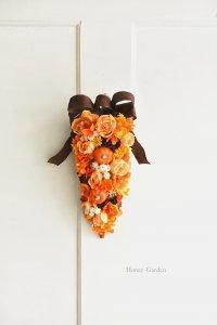 かぼちゃとバラのスワッグ(ブラウンリボン)