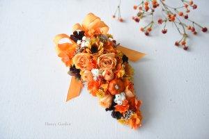 かぼちゃとバラのスワッグ(オレンジリボン)