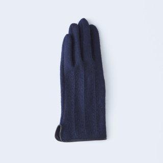 ふわりとした肌あたりにキレイなシルエット、大人のためのカシミヤ手袋(ネイビー)/tet.