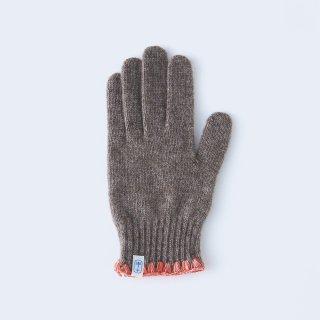 ハマグリ刺繍がかわいいウールの手袋(WOMEN ブラウン)/tet.