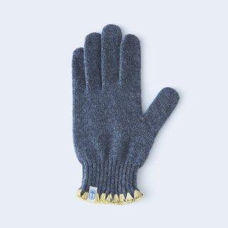 ハマグリ刺繍がかわいいウールの手袋(MEN ブルー)/tet.