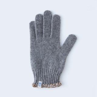ハマグリ刺繍がかわいいウールの手袋(MEN グレー)/tet.