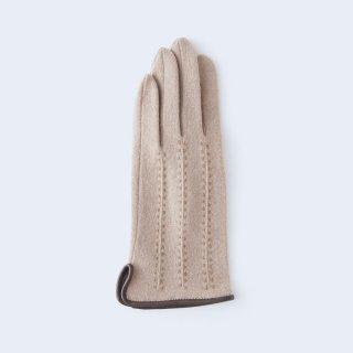 ふわりとした肌あたりにキレイなシルエット、大人のためのカシミヤ手袋(キャメル)/tet.