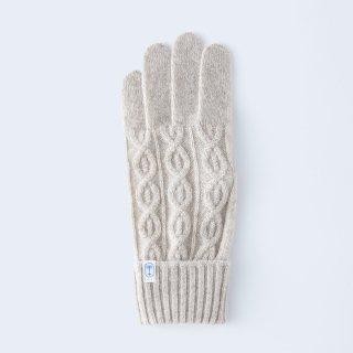 小さくコンパクトなケーブルニットの、上品なメンズカシミヤ手袋(ベージュ)/tet.