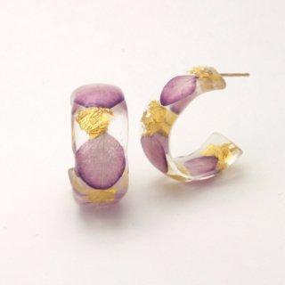光透き通る、花と金箔のピアス(アジサイ紫)/nico design