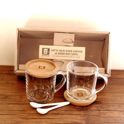 good day cafe(グッドデイカフェ) ギフト smile ガラス マグカップ&スプーン セット2 250ml